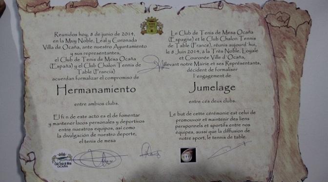 HERMANAMIENTO DEL CLUB DE TENIS DE MESA DE OCAÑA Y EL CLUB CHALON TENNIS DE TABLE