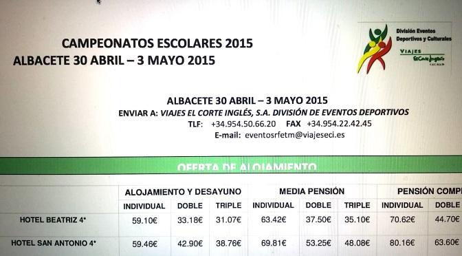 OFERTA HOTELERA CAMPEONATO DE ESPAÑA ESCOLAR (ALBACETE 2015)