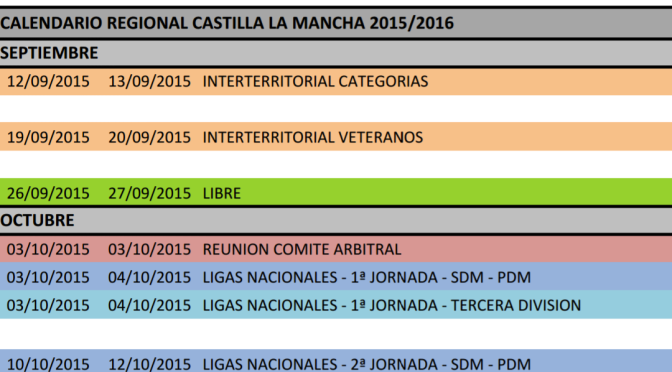 CALENDARIO REGIONAL CASTILLA LA MANCHA TEMP 2015-2016