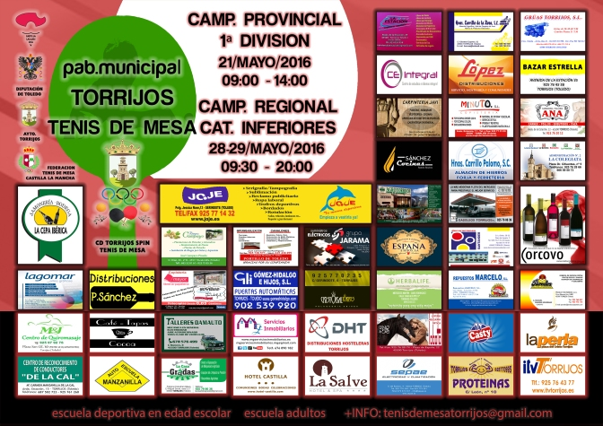 CARTEL CAMP. REGIONAL CATEGORIAS INFERIORES Y PROVINCIAL