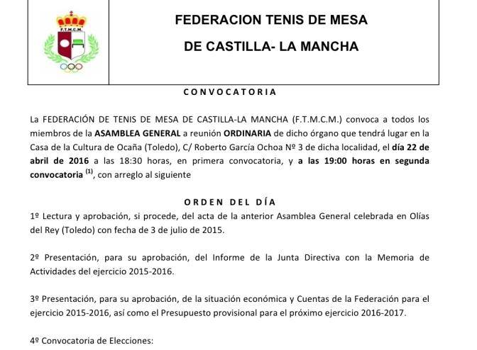 CONVOCATORIA ASAMBLEA GENERAL 2016 DE LA FEDERACION DE TENIS DE MESA DE CASTILLA LA MANCHA