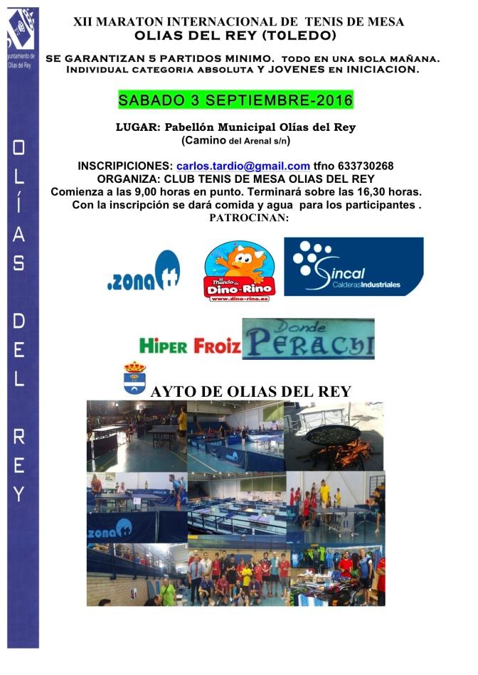 XII MARATON TENIS DE MESA OLIAS DEL REY 2016
