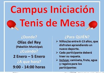 CAMPUS INICIACIÓN TENIS DE MESA. OLÍAS DEL REY