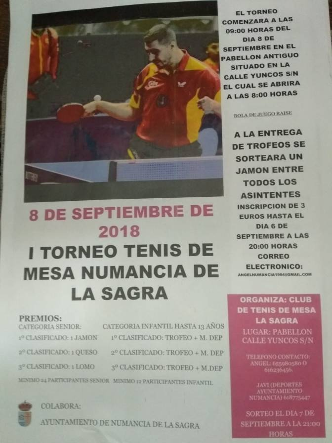 I TORNEO TENIS DE MESA de Numancia de la Sagra